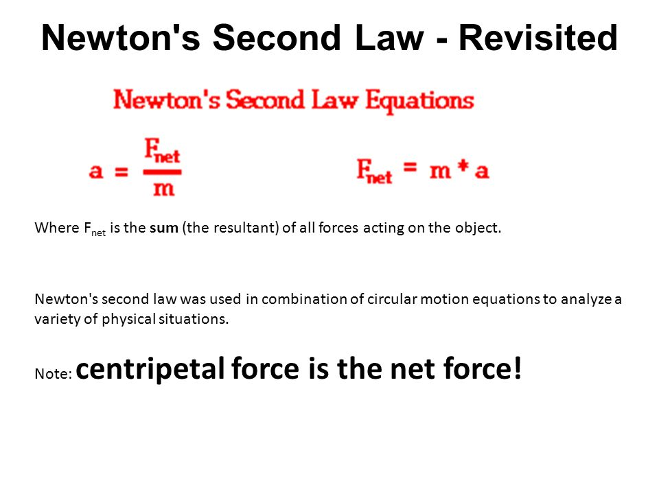 Newton s Second Law - Revisited