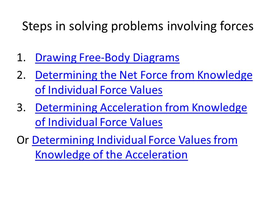 Steps in solving problems involving forces