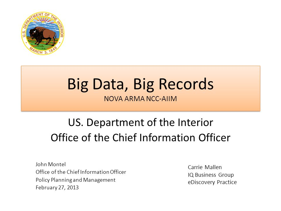 Big Data, Big Records NOVA ARMA NCC-AIIM