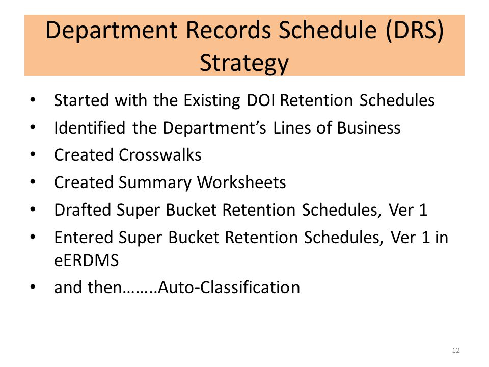 Department Records Schedule (DRS) Strategy