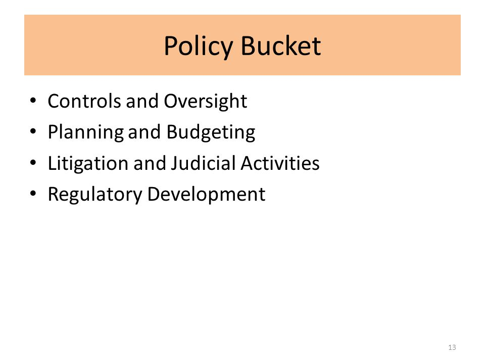 Policy Bucket Controls and Oversight Planning and Budgeting