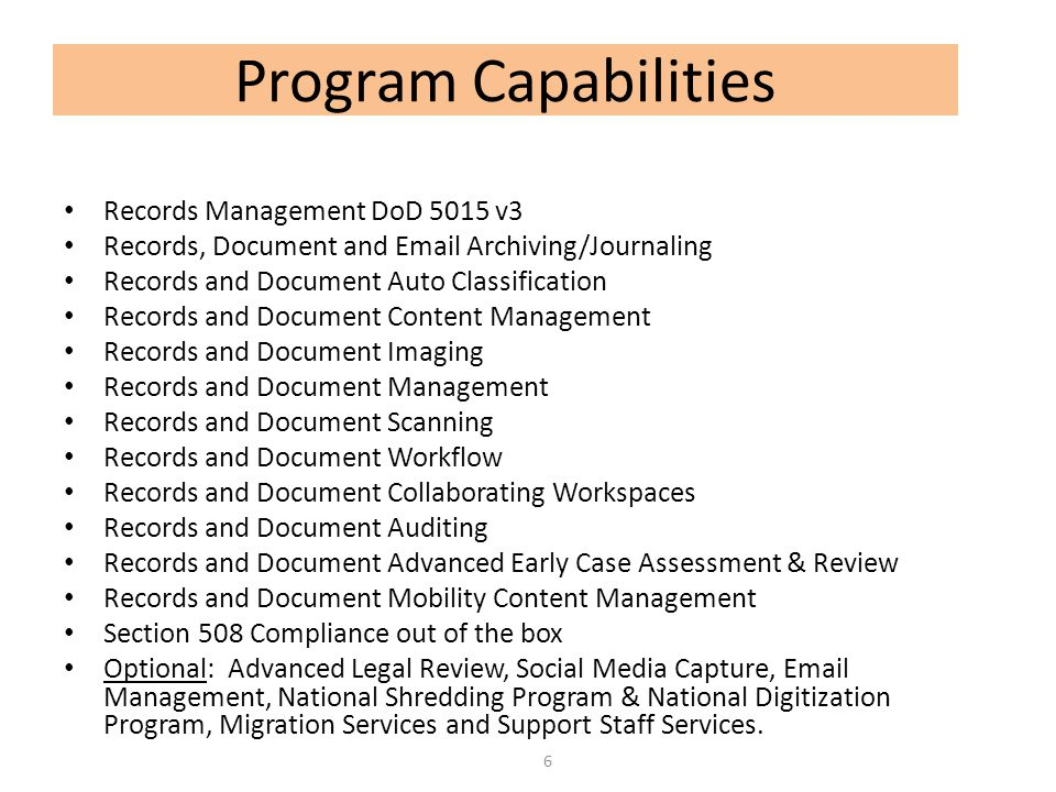 Program Capabilities Records Management DoD 5015 v3