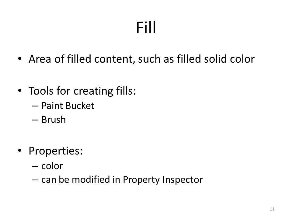 Fill Area of filled content, such as filled solid color
