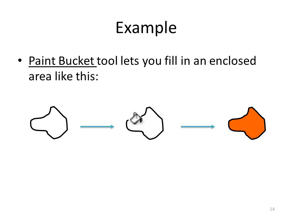 Example Paint Bucket tool lets you fill in an enclosed area like this: