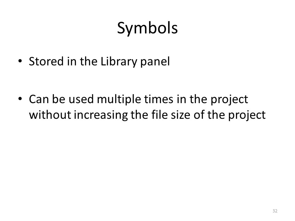 Symbols Stored in the Library panel