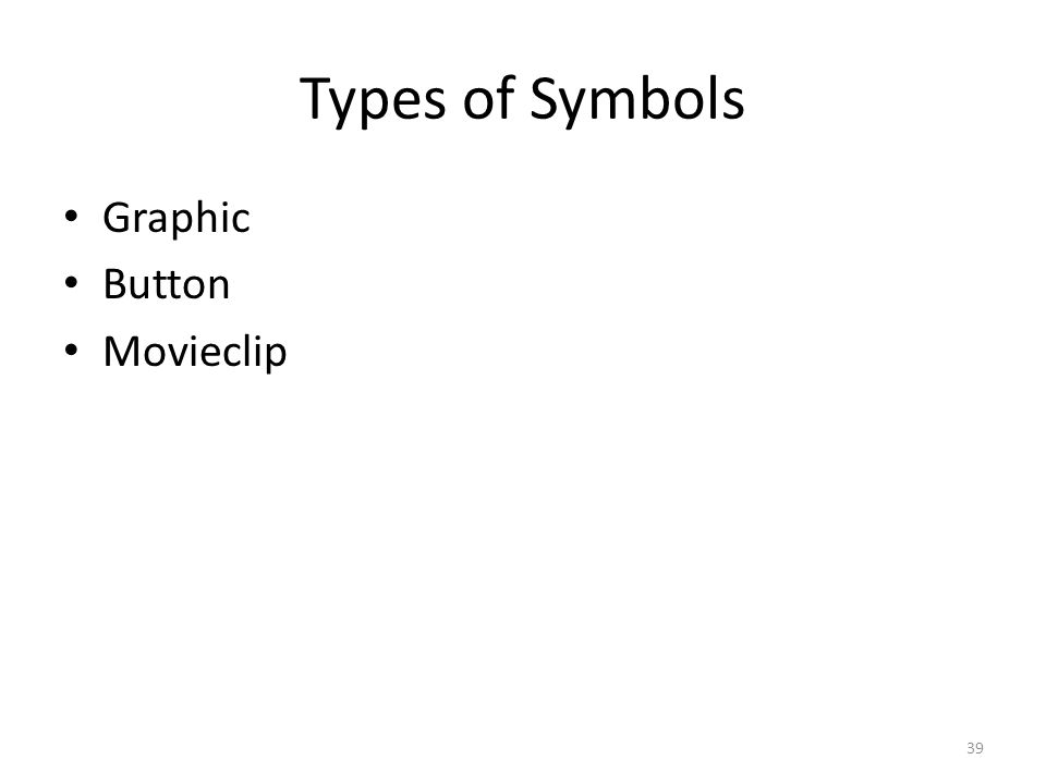 Types of Symbols Graphic Button Movieclip