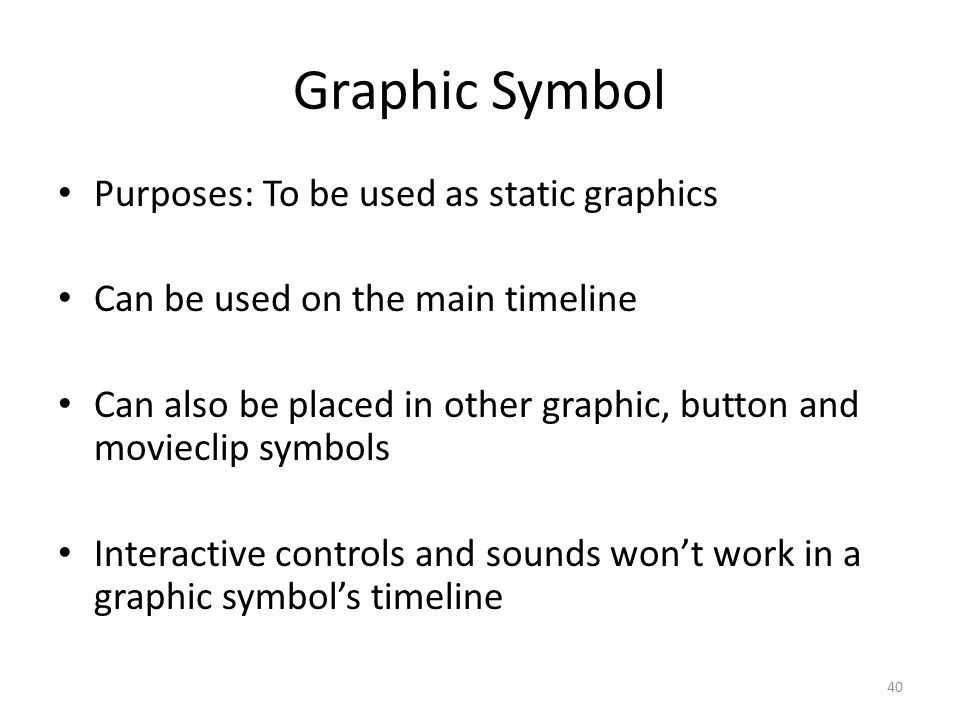 Graphic Symbol Purposes: To be used as static graphics