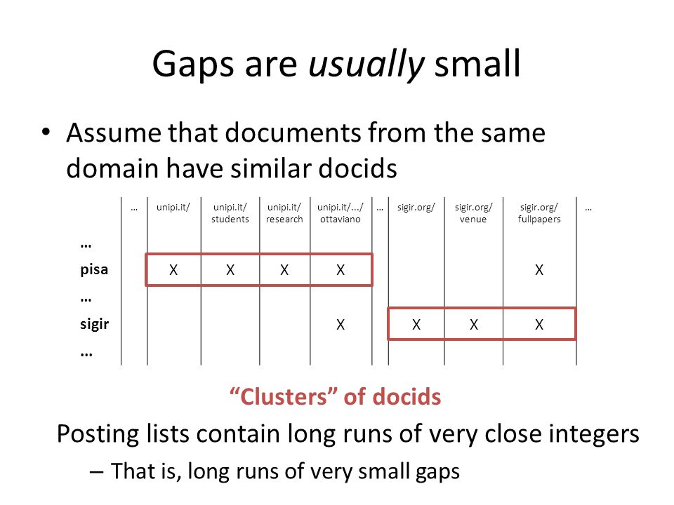 Gaps are usually small Assume that documents from the same domain have similar docids. … unipi.it/