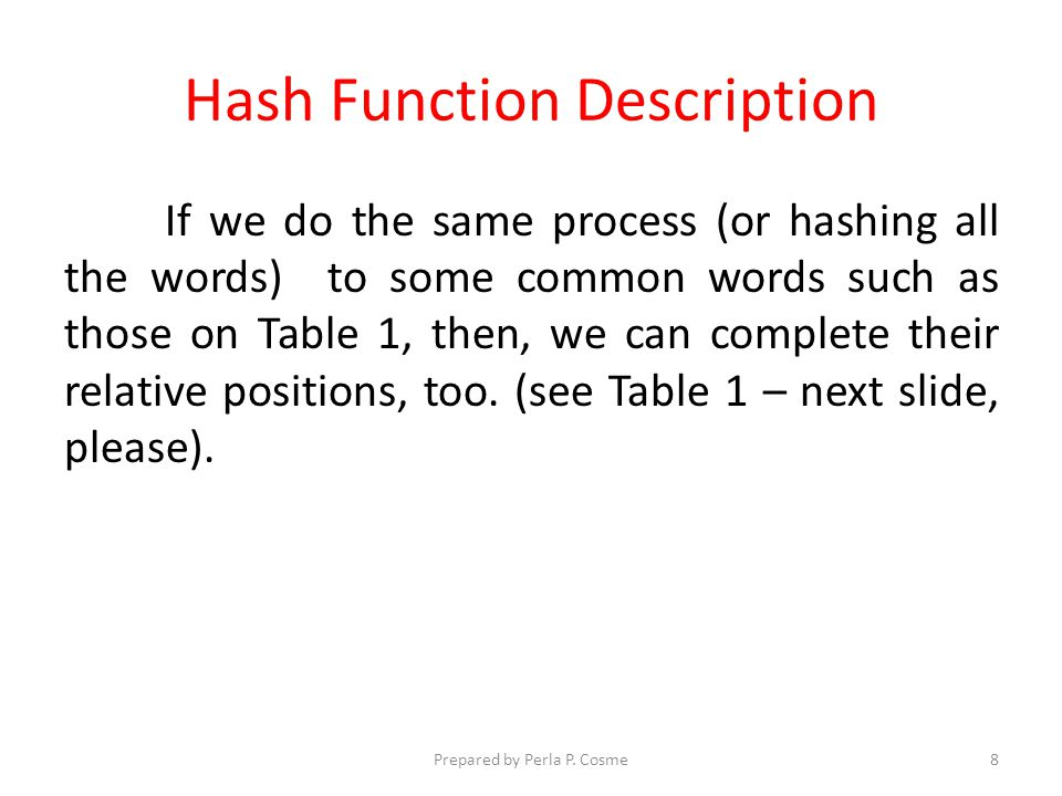 Hash Function Description