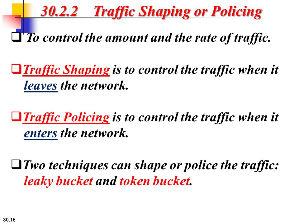 30.2.2 Traffic Shaping or Policing