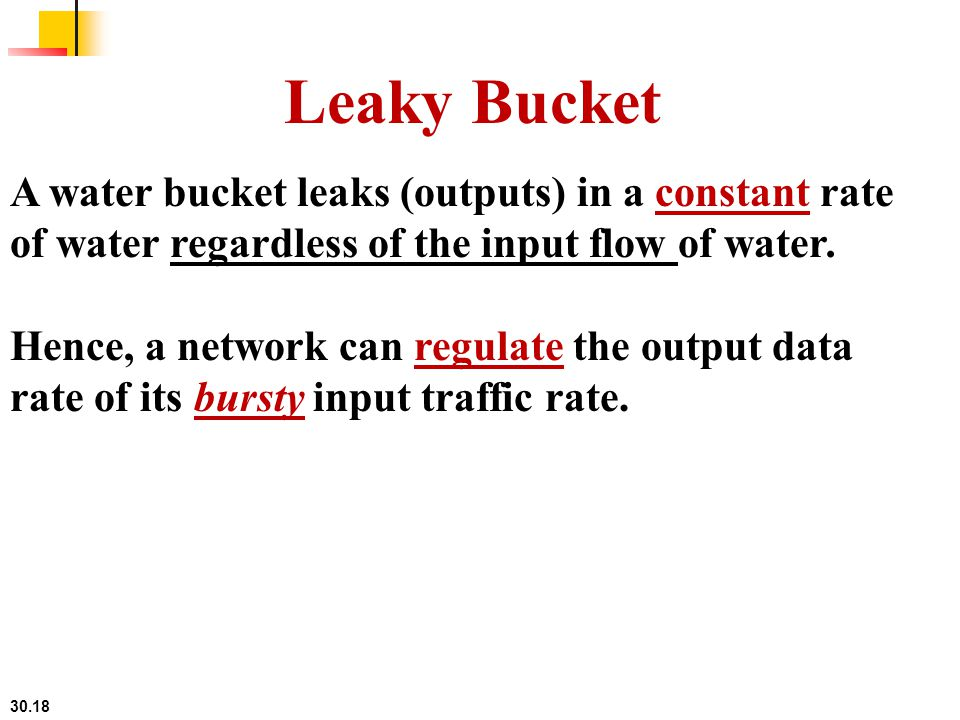 Leaky Bucket A water bucket leaks (outputs) in a constant rate of water regardless of the input flow of water.