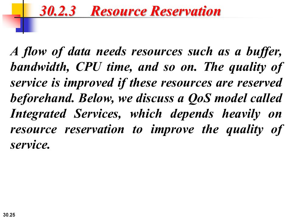 30.2.3 Resource Reservation