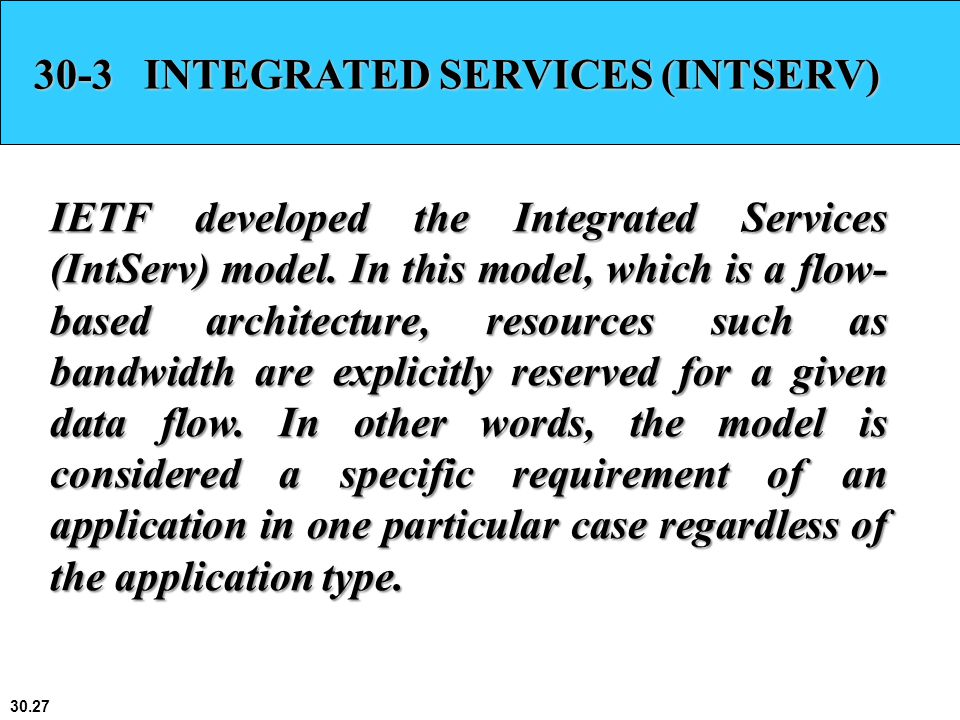 30-3 INTEGRATED SERVICES (INTSERV)