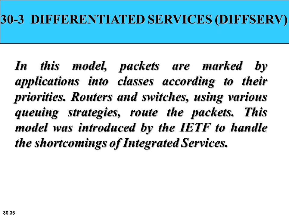 30-3 DIFFERENTIATED SERVICES (DIFFSERV)