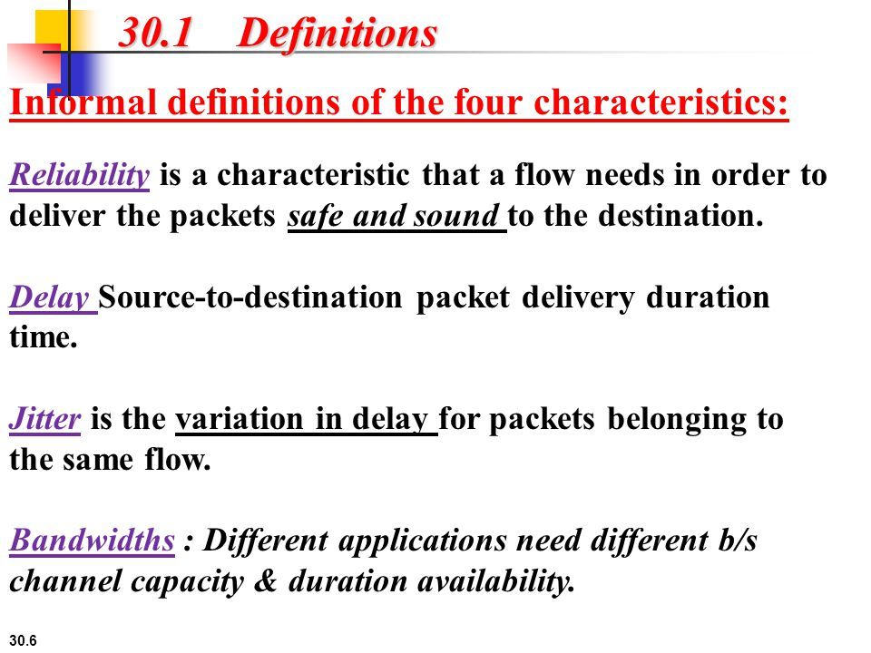 30.1 Definitions Informal definitions of the four characteristics: