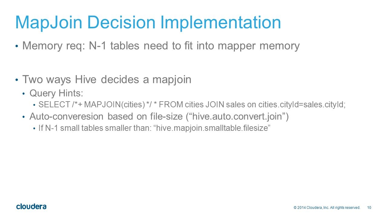 MapJoin Decision Implementation