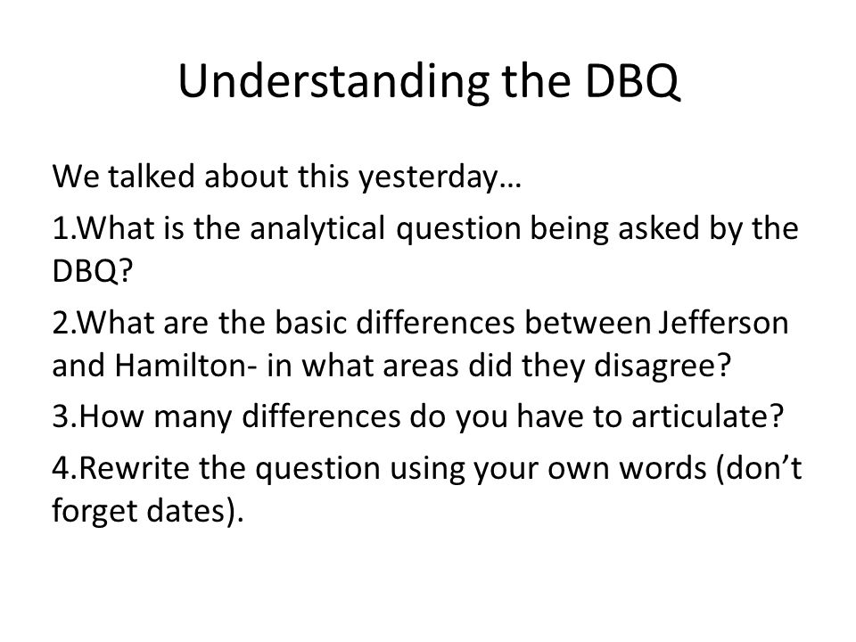 Understanding the DBQ
