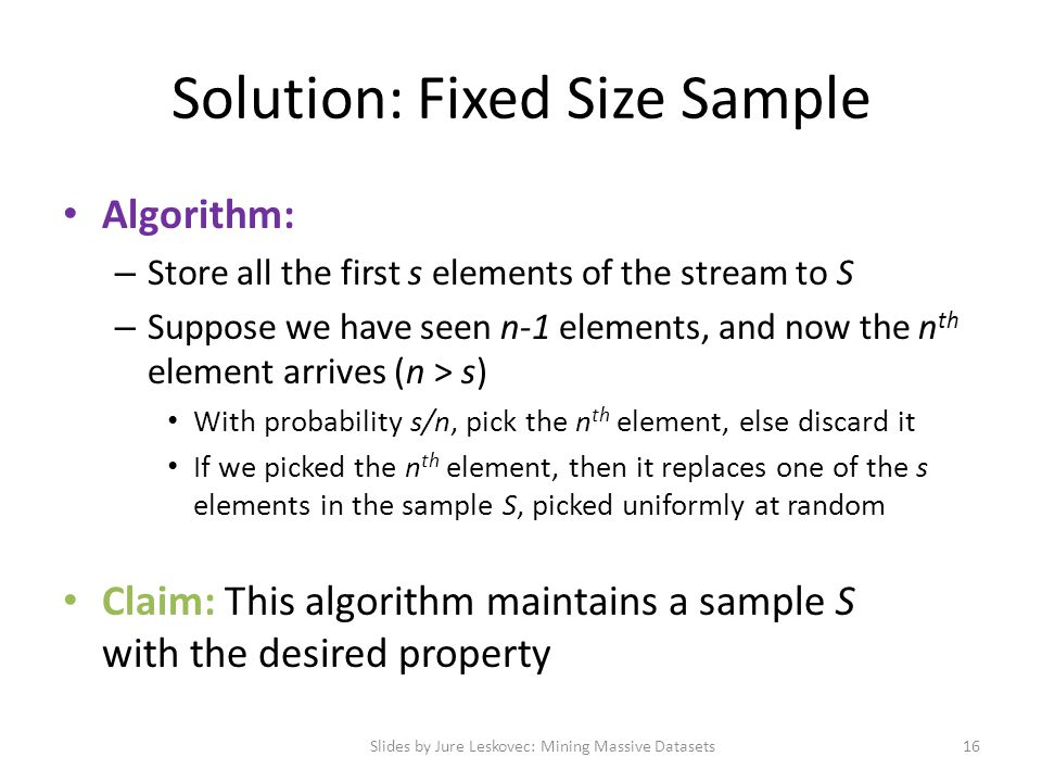 Solution: Fixed Size Sample