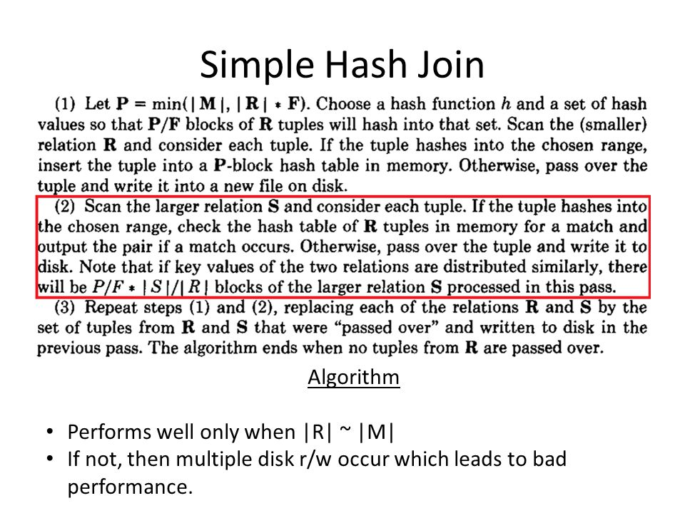 Simple Hash Join Algorithm Performs well only when |R| ~ |M|