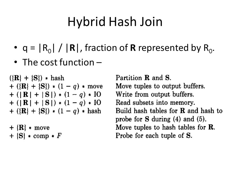 Hybrid Hash Join q = |R0| / |R|, fraction of R represented by R0.