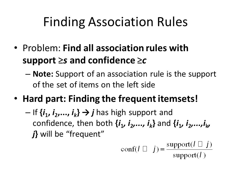 Finding Association Rules