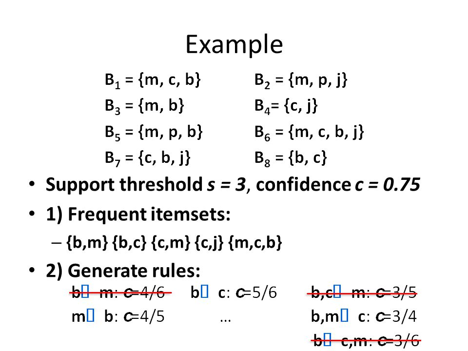Example Support threshold s = 3, confidence c = 0.75