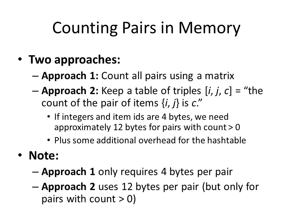 Counting Pairs in Memory