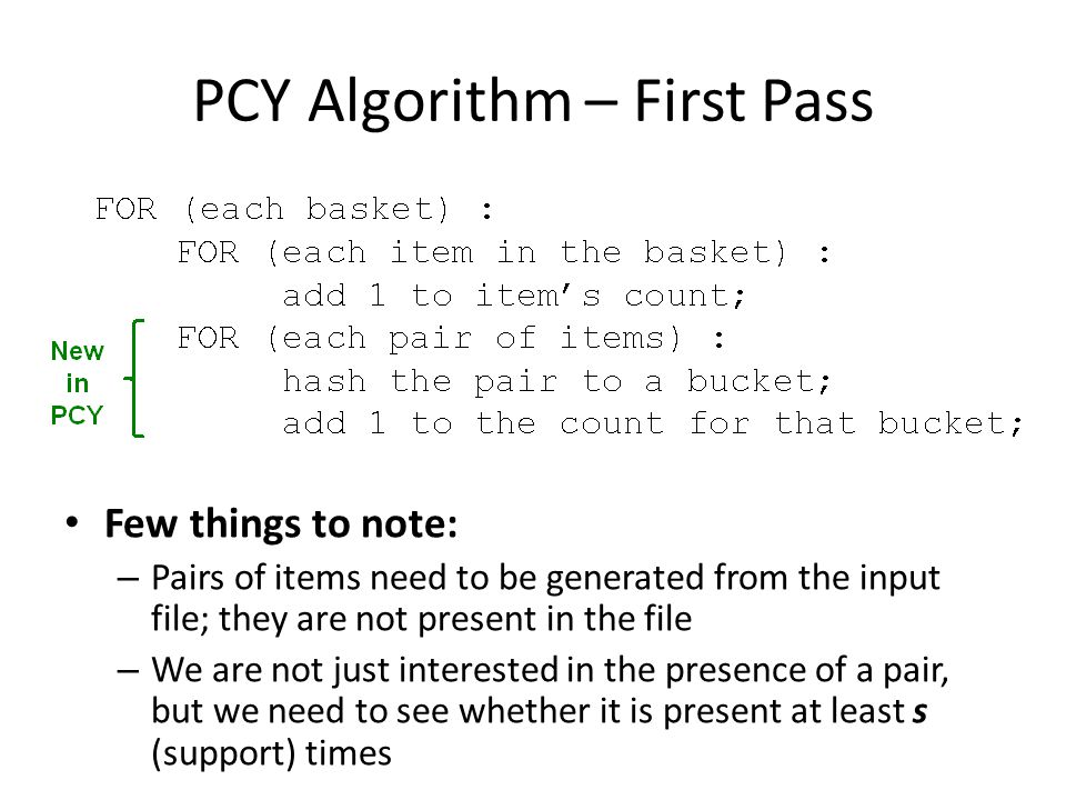 PCY Algorithm – First Pass