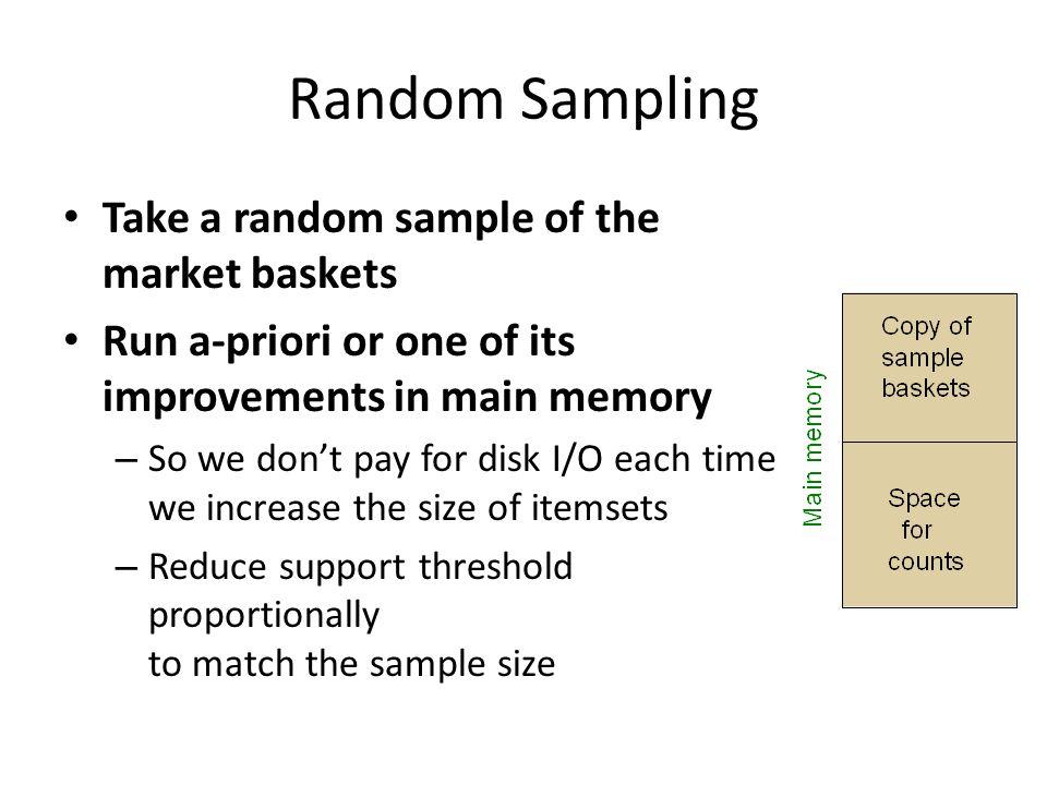 Random Sampling Take a random sample of the market baskets