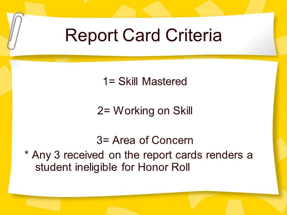 Report Card Criteria 1= Skill Mastered 2= Working on Skill