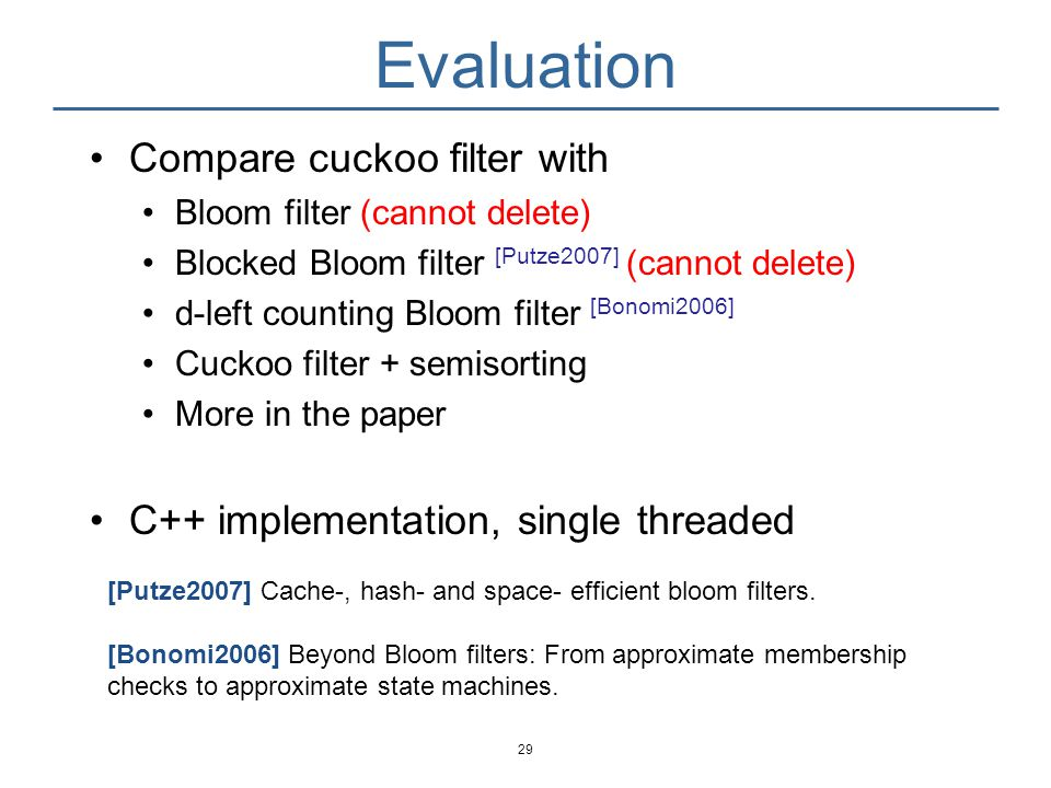 Evaluation Compare cuckoo filter with