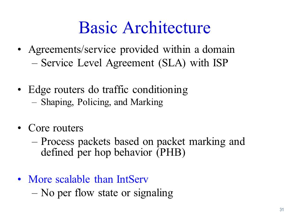 Basic Architecture Agreements/service provided within a domain