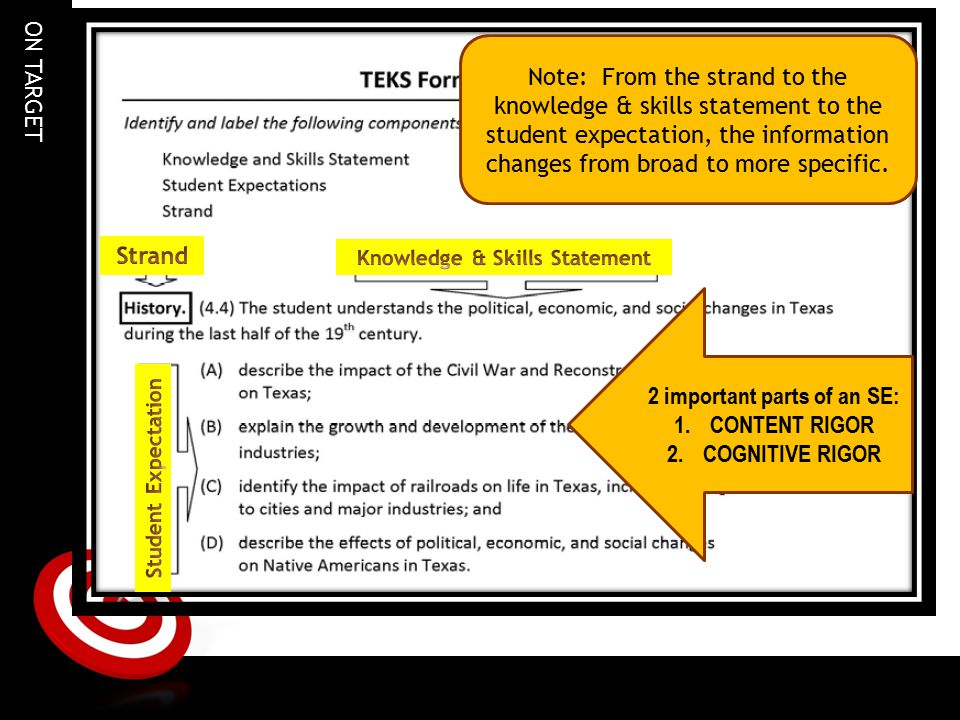 Knowledge & Skills Statement 2 important parts of an SE: