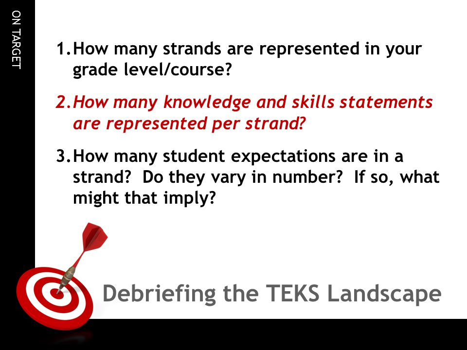 Debriefing the TEKS Landscape