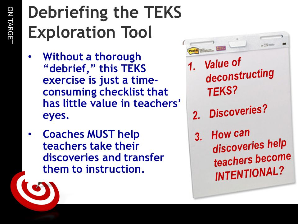 Debriefing the TEKS Exploration Tool