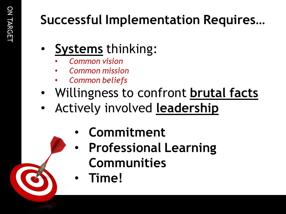 Successful Implementation Requires…