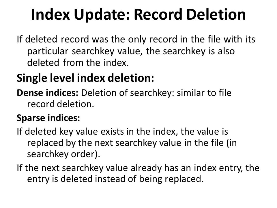 Index Update: Record Deletion