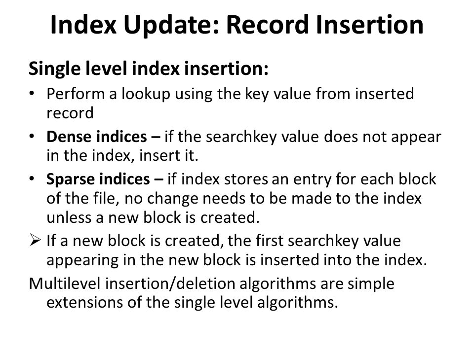 Index Update: Record Insertion