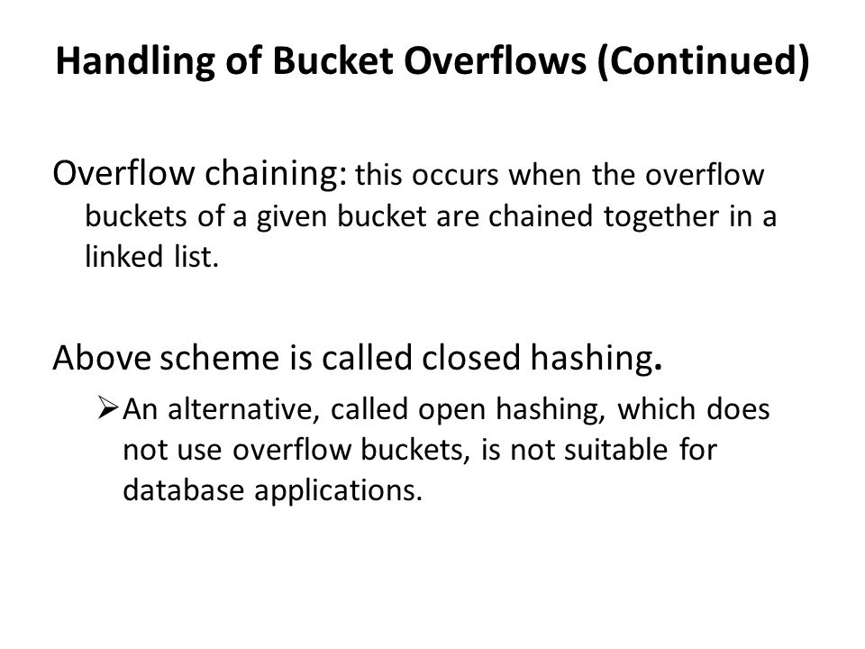 Handling of Bucket Overflows (Continued)