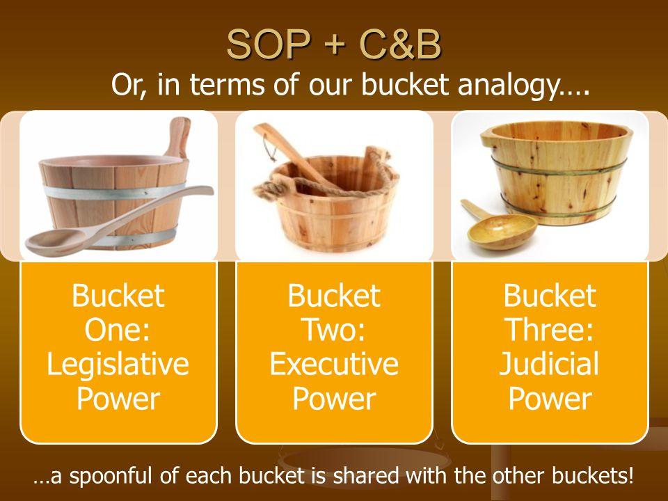 SOP + C&B Bucket One: Legislative Power Bucket Two: Executive Power