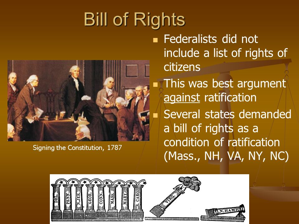 Bill of Rights Federalists did not include a list of rights of citizens. This was best argument against ratification.