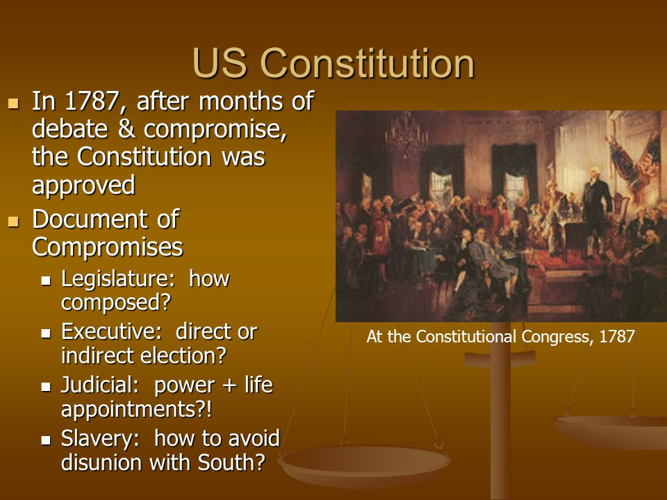 US Constitution In 1787, after months of debate & compromise, the Constitution was approved. Document of Compromises.