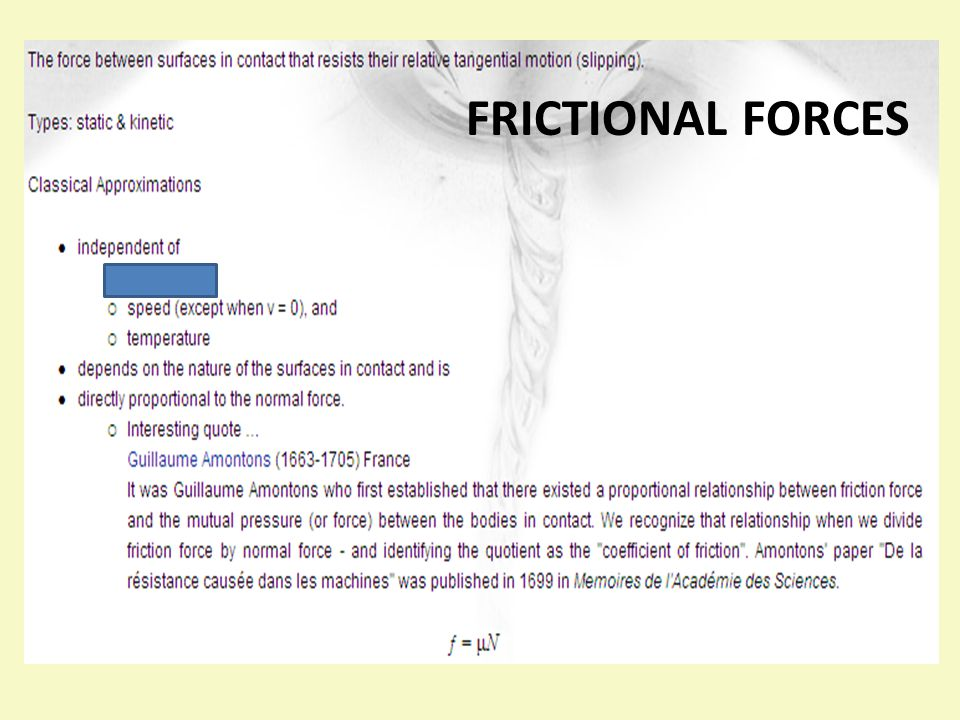 FRICTIO FRICTIONAL FORCES