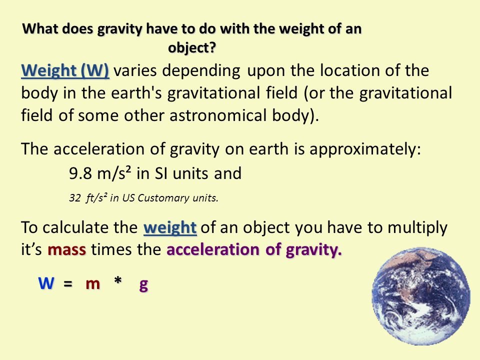 What does gravity have to do with the weight of an object