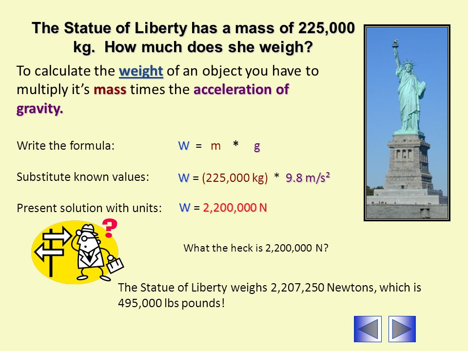 The Statue of Liberty has a mass of 225,000 kg. How much does she weigh