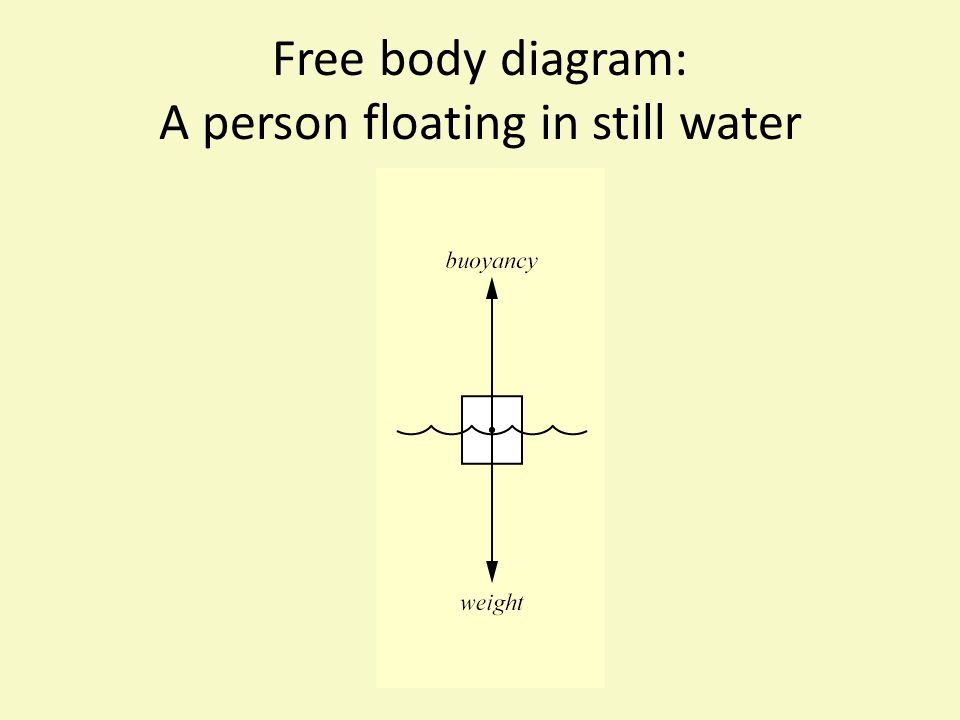 Free body diagram: A person floating in still water