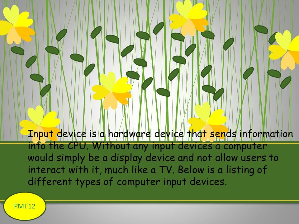 Input device is a hardware device that sends information into the CPU