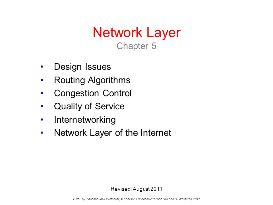 Network Layer Chapter 5 Design Issues Routing Algorithms