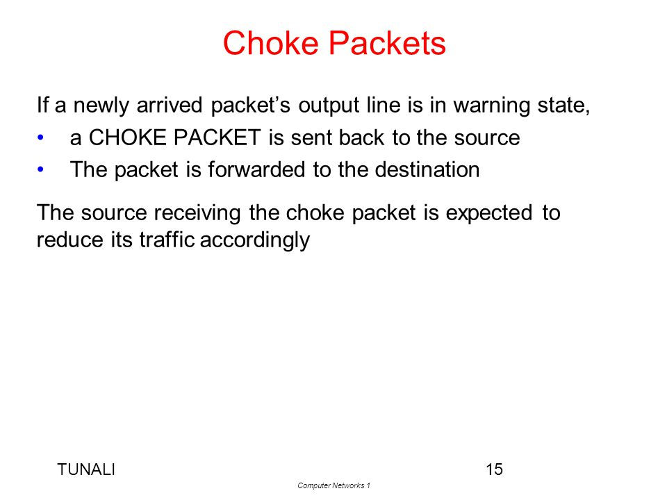 Choke Packets If a newly arrived packet's output line is in warning state, a CHOKE PACKET is sent back to the source.