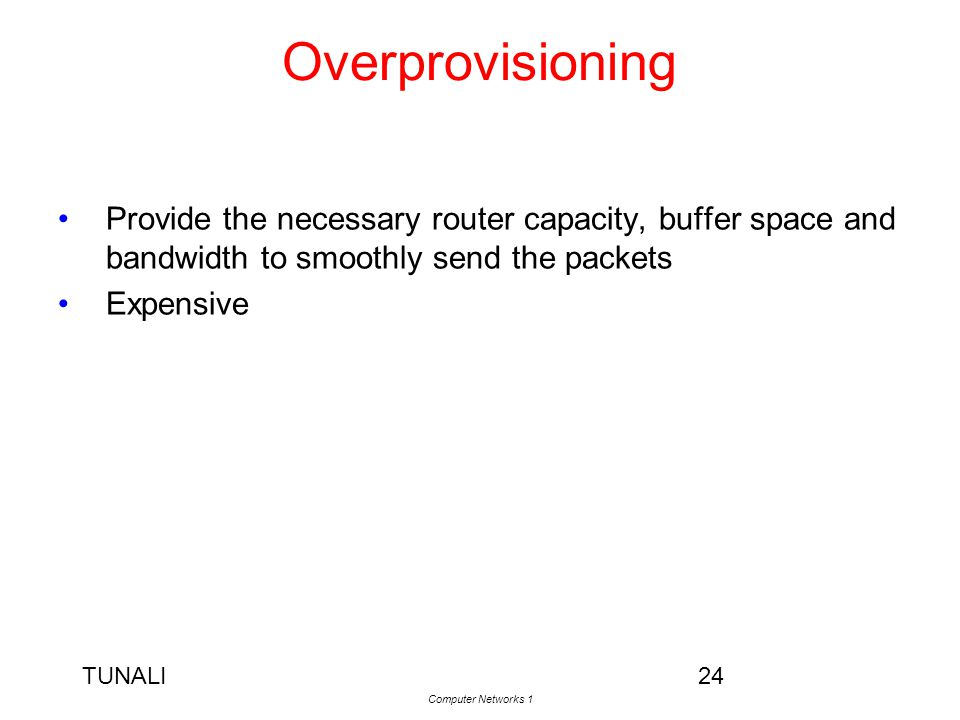 Overprovisioning Provide the necessary router capacity, buffer space and bandwidth to smoothly send the packets.